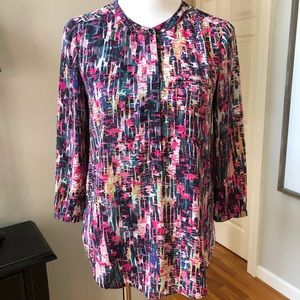 NYDJ watercolor print pleated back tunic top XS